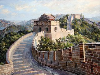 Artemis  Artists Association; the great wall of china, 2016, Original Painting Oil, 80 x 60 cm. Artwork description: 241 China, Great wall of China, mountains, forest, tree, ladder, morning, tower, battlements, hill, history, ancient, monument, culture...