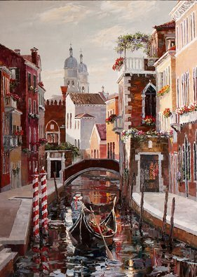 Artemis  Artists Association; venice rio de san barnaba, 2017, Original Painting Oil, 50 x 70 cm. Artwork description: 241 Europe, Italy, canal, gondola, gondolier, bridge, church, balcony with flowers, wisteria, reflection in water, embankment...