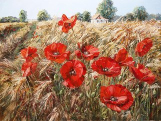 Artemis  Artists Association; wheat field, 2017, Original Painting Oil, 80 x 60 cm. Artwork description: 241 red poppies, poppy, flowers, village, road, ears, wheat, field, meadow, house, space, summer, grass, palette...