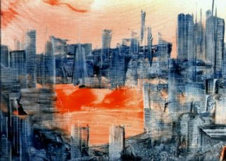 Gudrun Ploetz; New York 1, 2000, Original Painting Encaustic, 13 x 10 inches. Artwork description: 241 Encaustic on canvas paper...