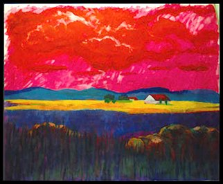 Federico Winqvist Estrada; Blue Mountain Red Sky, 1992, Original Mixed Media, 120 x 90 cm. Artwork description: 241   The hybrid print mixed- media technic used in this artwork is a combination of both laser print and original work. The original piece is first photographed then digitized in Photoshop. Afterwards the work is printed ( the buyer can at this phase of the process choose the size ...
