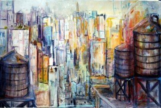 Jack Diamond; TANKS FOR THE MEMORIES, 2010, Original Painting Acrylic, 36 x 24 inches. Artwork description: 241  THE WATER TANKS STAND ABOVE THE NEW YORK SKYLINE LIKE ANCIENT SENTINELS, RUST AND GREY BROWN WOOD AGAINST A BACK DROP OF MANHATTAN ...