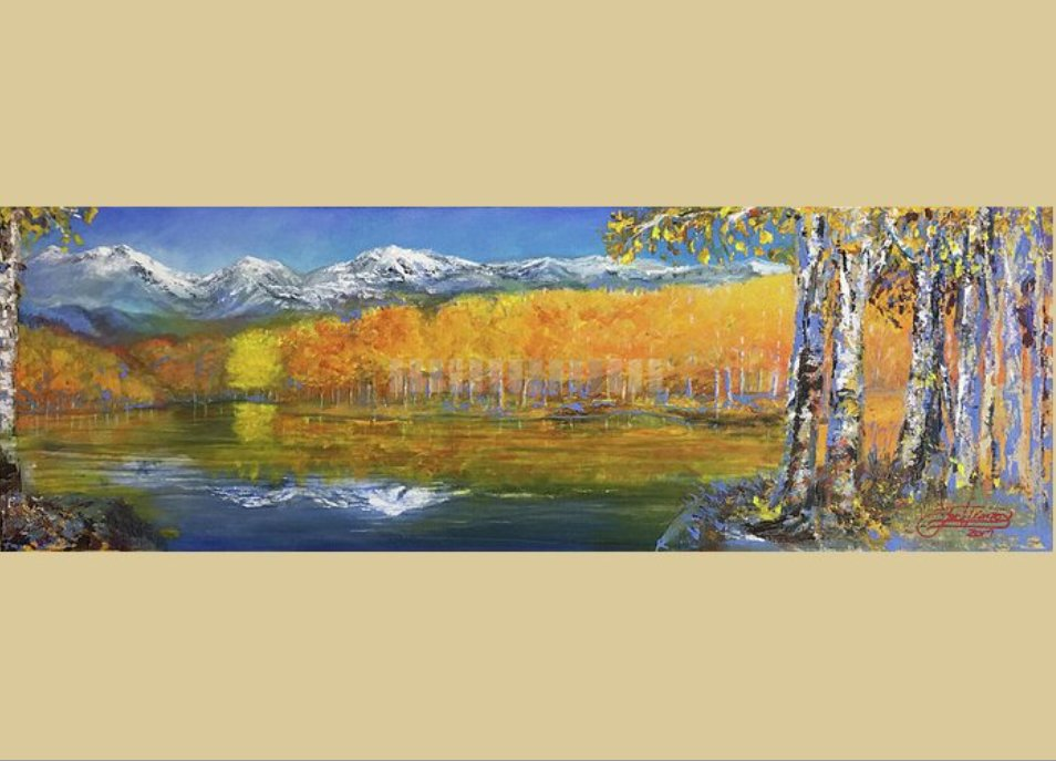 Jack Diamond; High Country, 2017, Original Painting Acrylic, 36 x 12 inches. Artwork description: 241 JACK DIAMOND, LANDSCAPE, PAINTING, AUTUMN, FALL, COLORS, TREES, LAKE, MOUNTAINS, birch, leaves, blue sky, snow...