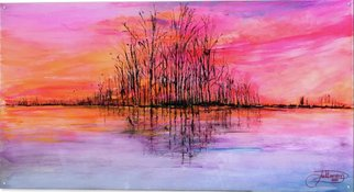 Jack Diamond; Wetlands Sunset, 2017, Original Painting Acrylic, 48 x 24 inches. Artwork description: 241 Wetlands sunset is an acrylic painting on clear acrylic plexiglass. It mounts to the wall with polished aluminum standoffs. Inspired by the many sunsets IaEURtmve seen as I traveled across America. ...