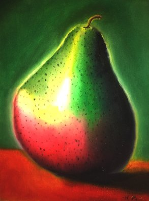 Katie Puenner; Lone Pear, 2015, Original Painting Oil, 8 x 10 inches. Artwork description: 241       This original oil on canvas is impressionistic in style and vibrant in color. This gallery wrapped, one of a kind painting would make a great addition to any home or office.      ...