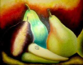 Katie Puenner; Pear Trio, 2015, Original Painting Oil, 24 x 18 inches. Artwork description: 241                    This original oil on canvas is impressionistic in style and vibrant in color. This gallery wrapped, one of a kind painting would make a great addition to any home or office.                   ...
