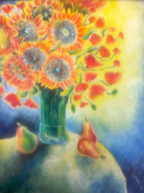 Katie Puenner; Sunflowers, 2014, Original Painting Oil, 8 x 10 inches. Artwork description: 241              This original oil on canvas is impressionistic in style and vibrant in color. This gallery wrapped, one of a kind painting would make a great addition to any home or office.             ...