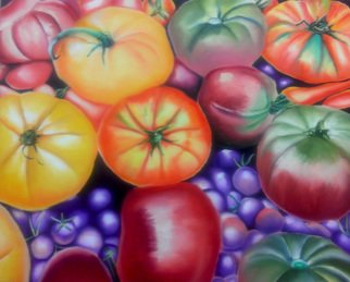 Katie Puenner; Sweet Tomatoes, 2015, Original Painting Oil, 36 x 34 inches. Artwork description: 241               This original oil on canvas is illustrative in style and vibrant in color. This gallery wrapped, one of a kind painting would make a great addition to any home or office.              ...