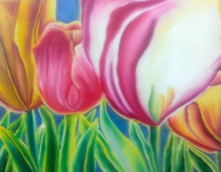 Katie Puenner; Tulips, 2015, Original Painting Oil, 24 x 18 inches. Artwork description: 241                This original oil on canvas is illustrative in style and vibrant in color. This gallery wrapped, one of a kind painting would make a great addition to any home or office.               ...