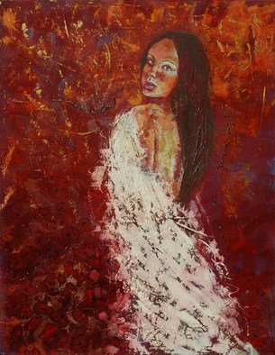Vivian Gutierrez; Poppy Of Fire, 2012, Original Mixed Media, 35.3 x 27.5 inches. Artwork description: 241     palette knife, mixed media on canvas                ...