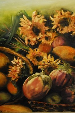 Susan Bell; Autumn Flowers, 2014, Original Painting Oil, 11 x 14 inches. Artwork description: 241  fall harvest displayed in a basket ...