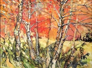 Maria Natoli; Birch Forest, 2016, Original Painting Oil, 12 x 16 inches.