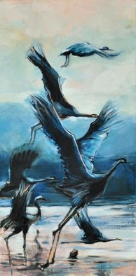 Maria Natoli; The Cranes, 2017, Original Painting Oil, 12 x 24 inches.