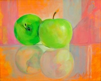 Maria Natoli; Two Green Apples I, 2017, Original Painting Oil, 8 x 10 inches.