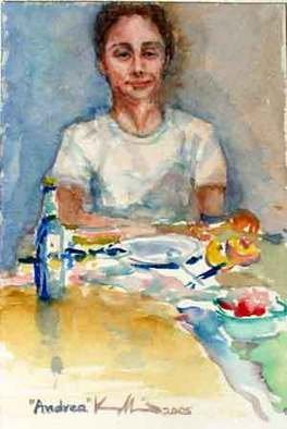 K C Tan Bee; Andrea, 2005, Original Watercolor, 10 x 15 cm. Artwork description: 241  Portrait of Andrea.  ...