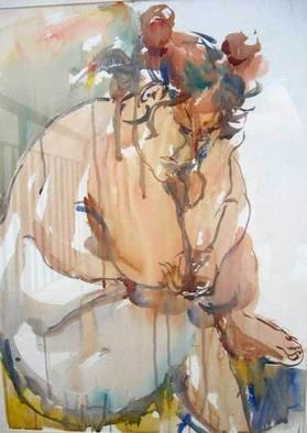 K C Tan Bee; Introspection, 2001, Original Watercolor, 540 x 740 mm. Artwork description: 241  Introspection:The terrible fluidity of self- revelation. ( Henry James) ...