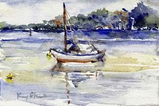 K C Tan Bee; River Series Boat 1, 2007, Original Watercolor, 25 x 20 cm. Artwork description: 241  Framed Print ...