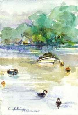 K C Tan Bee; River Series Boat 3, 2007, Original Watercolor, 20 x 25 cm. Artwork description: 241  Framed Print ...
