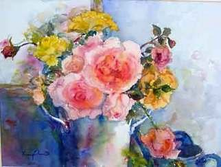 K C Tan Bee; Rose Reflections, 2007, Original Watercolor, 560 x 460 mm. Artwork description: 241  Autumn Roses from my garden. ...