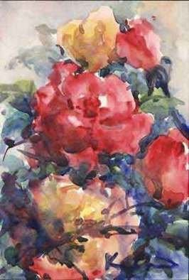 K C Tan Bee; Roses From My Garden 3, 2007, Original Watercolor, 20 x 25 cm. Artwork description: 241  This is a framed print edition, postcard size ...