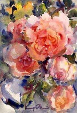 K C Tan Bee; Roses from my garden, 2007, Original Watercolor, 20 x 25 cm. Artwork description: 241  This is a framed print edition, postcard size. ...