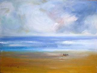 K C Tan Bee; children by the sea, 2007, Original Painting Oil, 400 x 300 mm. Artwork description: 241  Inspired by memories of a holiday in the Gold Coast, Australia ...