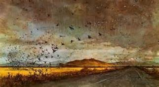 Calhoun Dale; Dustin The Ducks, 2014, Original Painting Oil, 12.9 x 18 inches. Artwork description: 241  Ducks get by a California dust storm in the Tulelake area. ...
