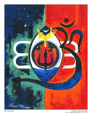 Prayag Jadhav; Shiva Adornments, 2020, Original Painting Acrylic, 8 x 10 inches. Artwork description: 241 This painting was made on the divine night of Maha Shiv Ratri 2020.This painting consists of Lord Shiva s Adornments like 1. The third eye2. Trishul3. Holy water of Ganga4. Moon5. The  Aum ...