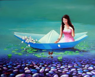 Sabir Haque; a journey of childhood, 2016, Original Painting Acrylic, 30 x 24 inches. Artwork description: 241 Everyone Has very beautiful childhood memories. As clear as the water of lake. Like the colorful pebble stones are scattered on the bottom of the heart. I wish travel by boat from invading the childhood days. ...