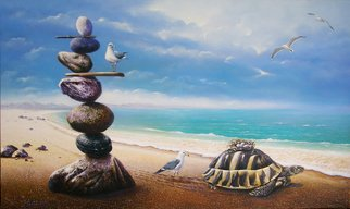 Sabir Haque; adoption, 2016, Original Painting Acrylic, 30 x 60 inches. Artwork description: 241 The turtle, the mythical savior or the eggs of a bird that will infuse new life into this world, the mother looks on. ...