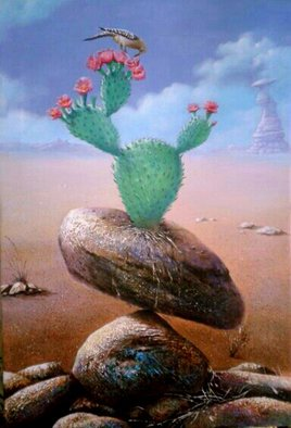 Sabir Haque; living stone, 2015, Original Painting Acrylic, 24 x 30 inches. Artwork description: 241 Continuous effort to stay alive. Cactus finds that survive the dry solid rocks and birds drink nectar from cactus flower to struggle for existence. ...