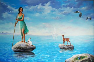 Sabir Haque; sea voyage, 2016, Original Painting Acrylic, 72 x 48 inches. Artwork description: 241 Eternal quest for her beloved, who has forsaken her, creatures like deer , rabbit, bird etc sympathies her. ...