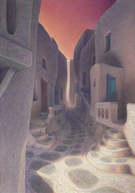 Brian Aurelio Piccini; Cycladic Walk II, 2009, Original Painting Acrylic, 35 x 50 cm. Artwork description: 241   mykonos, cyclades, greece ...