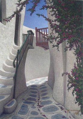 Brian Aurelio Piccini; Cycladic Walk III, 2012, Original Painting Acrylic, 35 x 50 cm. Artwork description: 241    mykonos, cyclades, greece  ...