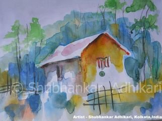 Shubhankar Adhikari; RURAL BENGAL, 2011, Original Watercolor, 7.5 x 5.5 inches. Artwork description: 241   Multi- talented Artist Shubhankar Adhikari's painting can be called as visual music or music for eyes. He is a self - taught artist dedicated to creativity in different aspects of fine arts. Waterclour and ink on paper.  ...