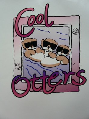 Richard Odonnell; Cool Otters, 2006, Original Printmaking Serigraph, 8 x 10 inches. Artwork description: 241  Cool Otters     ...