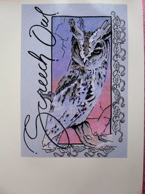 Richard Odonnell; Screech Owl, 2006, Original Printmaking Serigraph, 8 x 10 inches. Artwork description: 241       Design for tourist shirts          ...