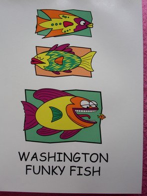 Richard Odonnell; Washington Funky Fish, 2006, Original Printmaking Serigraph, 8 x 10 inches. Artwork description: 241    Design for tourist shirts       ...