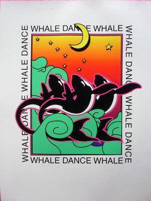 Richard Odonnell; Whale Dance, 2006, Original Printmaking Serigraph, 8 x 10 inches. Artwork description: 241  Logo for whale watchers      ...