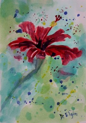 Diane Elgin; Red Flower On A Greeting Card, 2012, Original Watercolor, 7 x 10 inches. Artwork description: 241   This is an original greeting card. ...