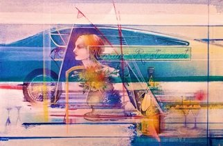 Gerard Tunney; Restaurant Reflection Neptunes, 2019, Original Painting Acrylic, 24 x 16 inches. Artwork description: 241 This painting is of a woman dining in a seafront restaurant viewed from outside so the painting is made up of a montage of reflected images along the sea coast...
