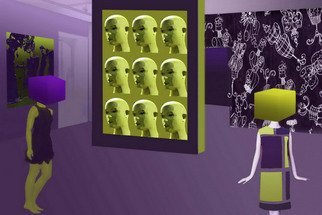 Marlies Odehnal; Dolls, 2012, Original Digital Art, 90 x 60 cm. Artwork description: 241   Collage, composition, dolls, consuming, boxes, out of the box, digital art, computer art, scenic, green, violett ...