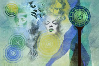 Marlies Odehnal; Eternity, 2012, Original Collage, 90 x 60 cm. Artwork description: 241   Collage, beauty, Marilyn Monroe, Oscar Wilde, famous people, clock, eternity, spirit, sex, literal, green, blue ...