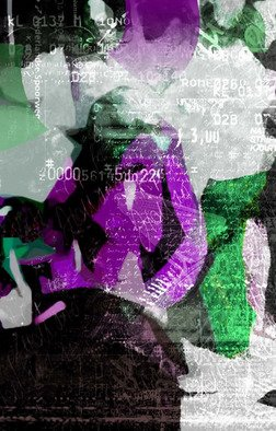 Marlies Odehnal; In The Street, 2012, Original Digital Art, 60 x 90 cm. Artwork description: 241    Street, collage, woman, child, mother with child, violett, numbers, letters  ...