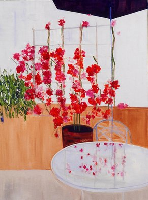 Pat Rose; Bougainvillea, 2006, Original Painting Oil, 40 x 30 inches. Artwork description: 241   Bougainvillea plant on terrace by the ocean      ...