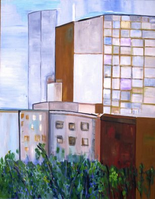 Pat Rose; Urban Life, 2000, Original Painting Oil, 46 x 36 inches. Artwork description: 241   Chicago cityscape   ...