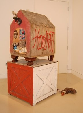 Michael Chomick; Doghouse, 2012, Original Mixed Media, 64 x 32 inches. Artwork description: 241       The work addresses the American association between blacks and whites since the initial encounter. Touching upon some of the keys issues during that timeline.   ...
