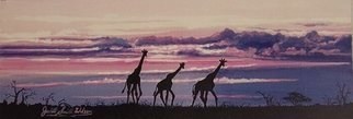 Judith Smith Wilson; African Morning, 1999, Original Watercolor, 17 x 8 inches. Artwork description: 241  Giraffe' s in Kenya' s Sunset.  Original $800. 00.  Open Edition Prints Available $45. 00 ...