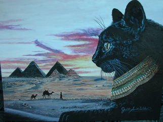 Judith Smith Wilson; Egyptian Memorys, 2008, Original Watercolor,   inches. Artwork description: 241  Miss Kitty remembering her Egyptian ancestory. 11x14 double matted open edition print, $40. 00. Original $l, 245. 00...