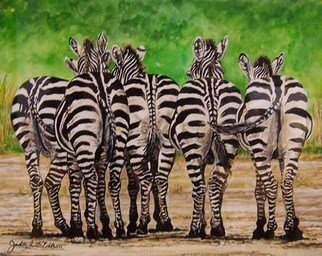Judith Smith Wilson; Ladies Gossip Society, 2005, Original Watercolor, 11 x 14 inches. Artwork description: 241  Five Zebras standing together exchanging gossip. Original $4,500.  Open Edition Prints Available $35. 00....